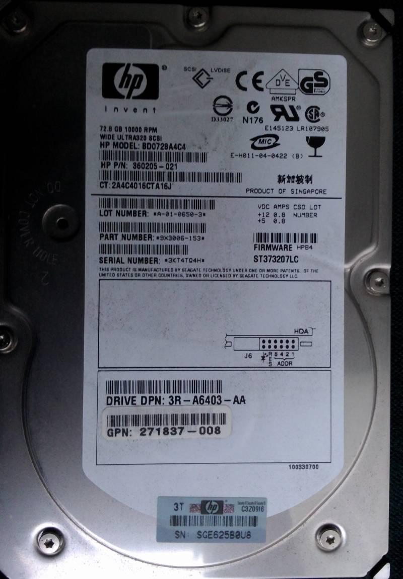 HDD Ultra320 SCSI LVD SE